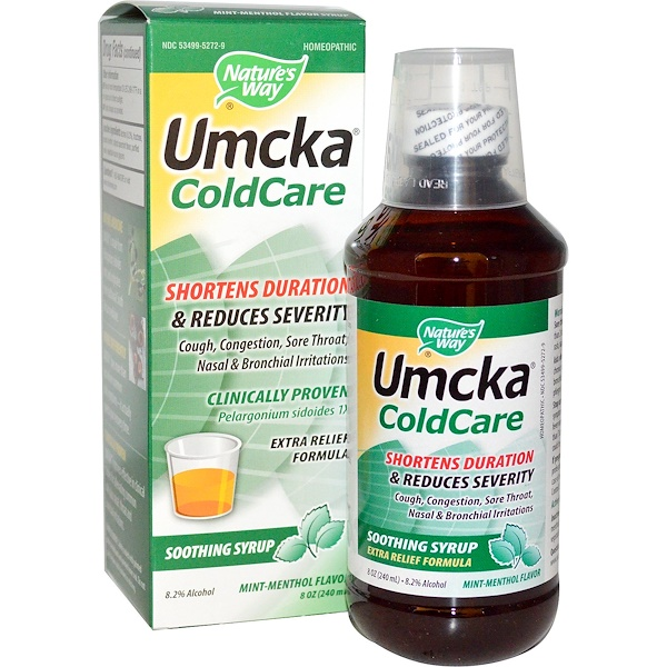 Nature's Way, Umcka, ColdCare, Soothing Syrup, Mint Menthol Flavor , 8 oz (240 ml) (Discontinued Item)