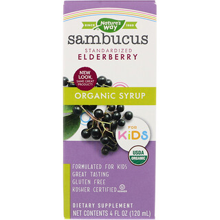 Nature's Way, Organic Sambucus Syrup for Kids, Standardized Elderberry, 4 fl oz (120 ml)