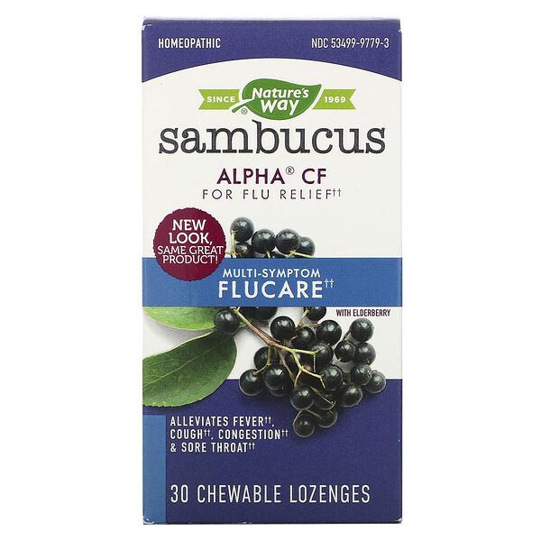 Sambucus Cuidado de Gripe, Alívio da Gripe com Multi-Sintomas, Pastilhas de Sabugueiro, 30 Tabletes Mastigáveis