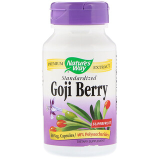 Nature's Way, Goji Berry, Padronizado, 60 Cápsulas Vegetarianas