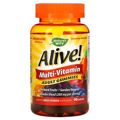 Купить Nature's Way Alive! Мультивитамины, жевательные конфеты для взрослых со вкусом фруктов, 90 жевательных конфет
