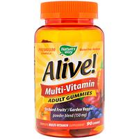Alive!, мультивитамины, жевательные таблетки для взрослых, фруктовые ароматизаторы, 90 жевательных таблеток - фото
