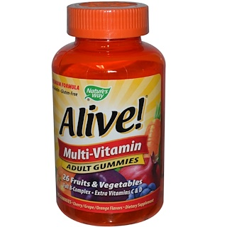 Nature's Way, Alive!, Adult Multi-Vitamin, Fruit Flavors, 90 Gummies