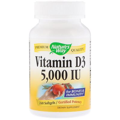 Купить Витамин D3, 5000 МЕ, 240 гелевых капсул