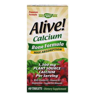 Купить Nature's Way Alive!, кальций, формула для костей, 1300мг, 60таблеток