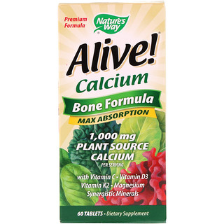 Nature's Way, Alive!, Calcium, Bone Formula, 1,000 mg, 60 Tablets