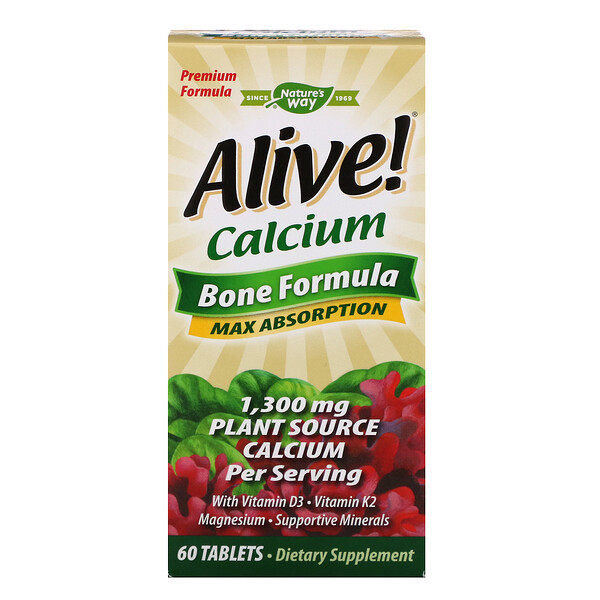 Nature's Way, Alive!, Calcium, Bone Formula, 1,300 mg, 60 Tablets