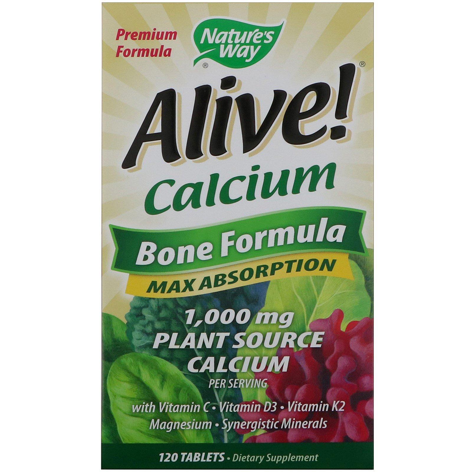 Nature's Way, Кальций Alive! максимальная абсорбция, формула для костей, 120 таблеток