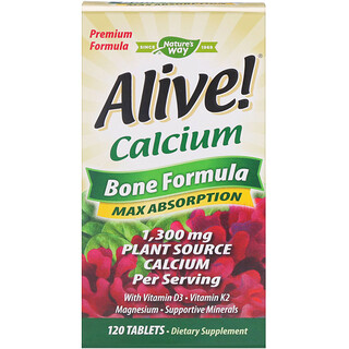 Nature's Way, Alive!, Calcium, Bone Formula, 120 Tablets