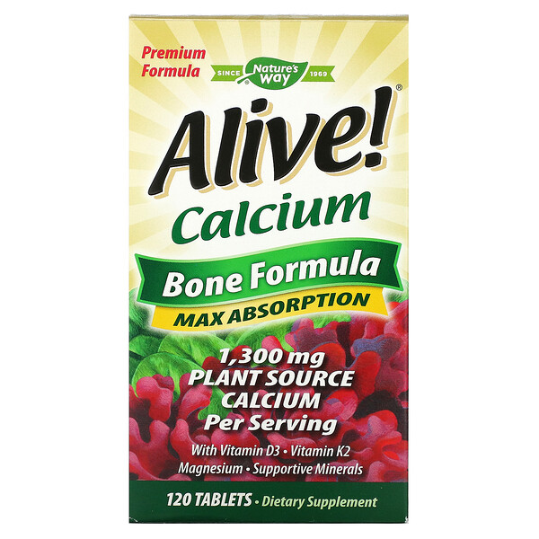 Nature's Way, Alive!, Calcium, Bone Formula, 1,300 mg, 120 Tablets