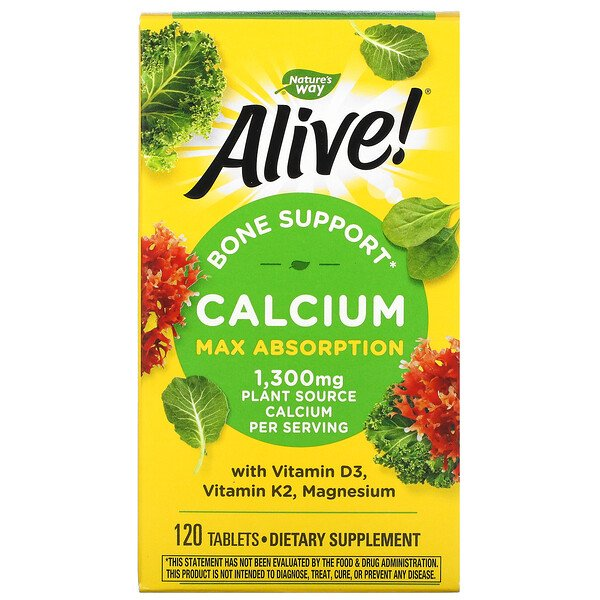 Nature's Way, Alive!, Calcium, Bone Support, 1,300 mg, 120 Tablets