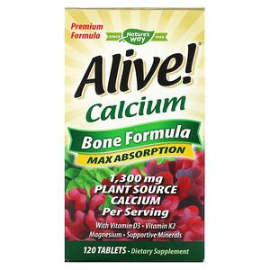 Натурес Вэй, Alive!, Calcium, Bone Formula, 1,300 mg, 120 Tablets отзывы покупателей