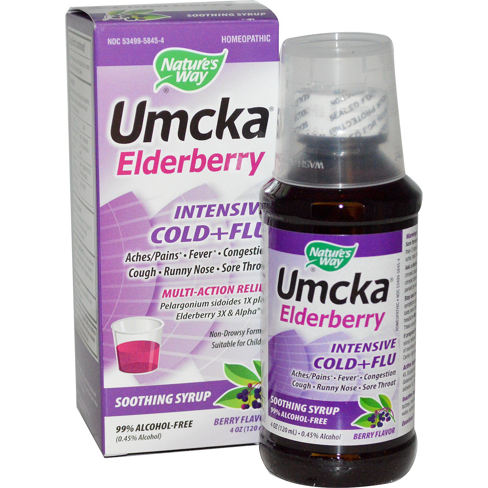 Nature's Way, Умчка, бузина, интенсивный против простуды и гриппа, ягодный вкус, 120 мл (4 унции)