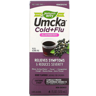 Nature's Way, Umcka, Cold+Flu, Elderberry Soothing Syrup, Berry Flavored, 4 fl oz (120 ml)