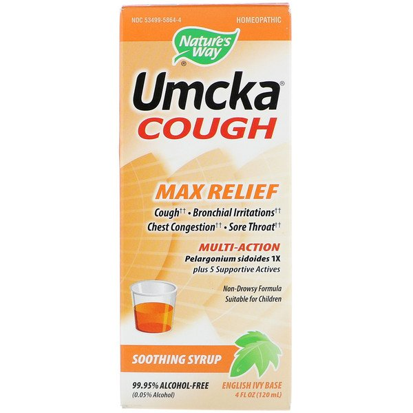 Umcka Cough, Max Relief, Soothing Syrup, 4 oz (120 ml)