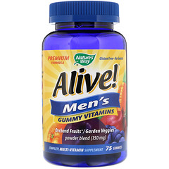 Nature's Way, Alive! Men's Gummy Vitamins, Fruit Flavors, 75 Gummies