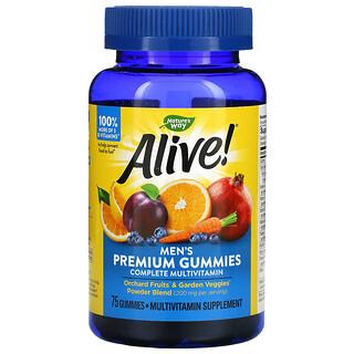 Nature's Way, Alive! Men's Premium Gummies, Complete Multivitamin, Orange, Grape & Cherry, 75 Gummies
