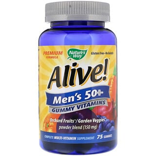 Nature's Way, Alive! Men's 50+ Gummy Vitamins, Multi-Vitamin Multi-Mineral, 75 Gummies