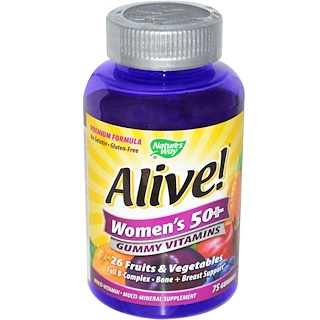 Nature's Way, Alive! Women's 50+ Gummy Vitamins, 75 Gummies