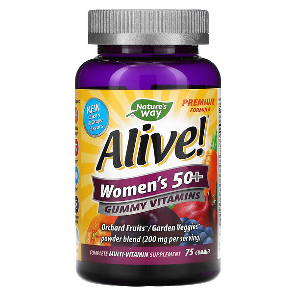 Nature's Way, Alive! Women's 50+ Gummy Vitamins, Cherry & Grape, 75 Gummies