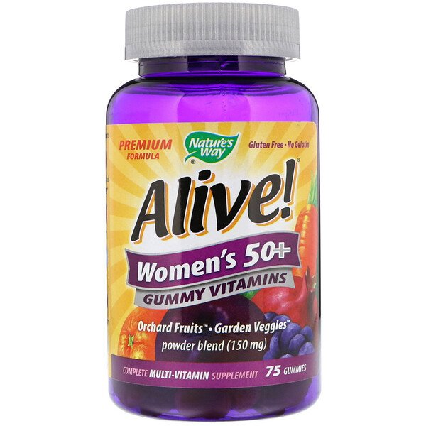 Nature's Way, Alive! Women's 50+ Gummy Vitamins, Fruit Flavors, 75 Gummies