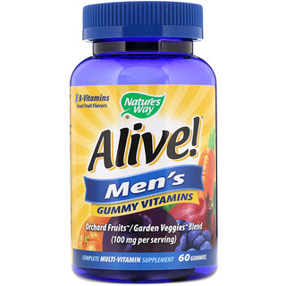 Nature's Way, Alive! Men's Gummy Vitamins, Great Fruit Flavors, 60 Gummies