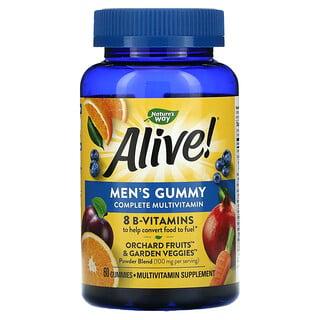 Nature's Way, Alive!, Gomitas multivitamínicas completas para hombres, Frutas, 60gomitas