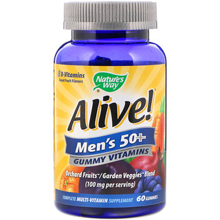 Nature's Way, Alive! Men's 50+ Gummy Vitamins, Great Fruit Flavors, 60 Gummies