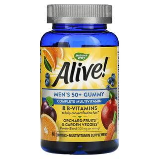 Nature's Way, Alive! Men's 50+ Gummy Complete Multivitamin, Fruit Flavors, 60 Gummies