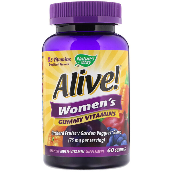 Alive! Women's Gummy Vitamins, Great Fruit Flavors, 60 Gummies