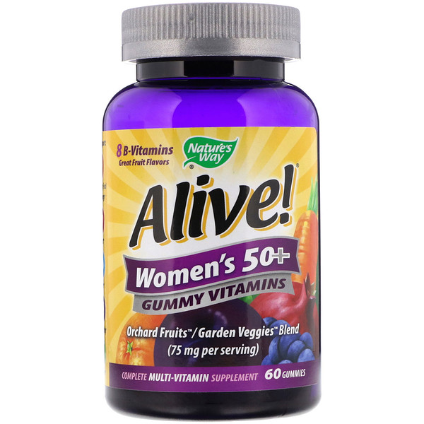 Nature's Way, Alive! Women's 50+ Gummy Vitamins, Fruit Flavors, 60 Gummies