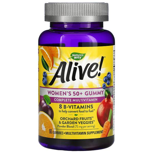 Alive! Vitaminas en gomita para mujeres mayores de 50 años, deliciosos sabores frutales, 60gomitas