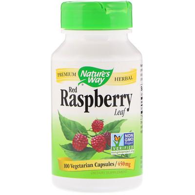 Красная малина, листья, 450 мг, 100 капсул  - купить со скидкой