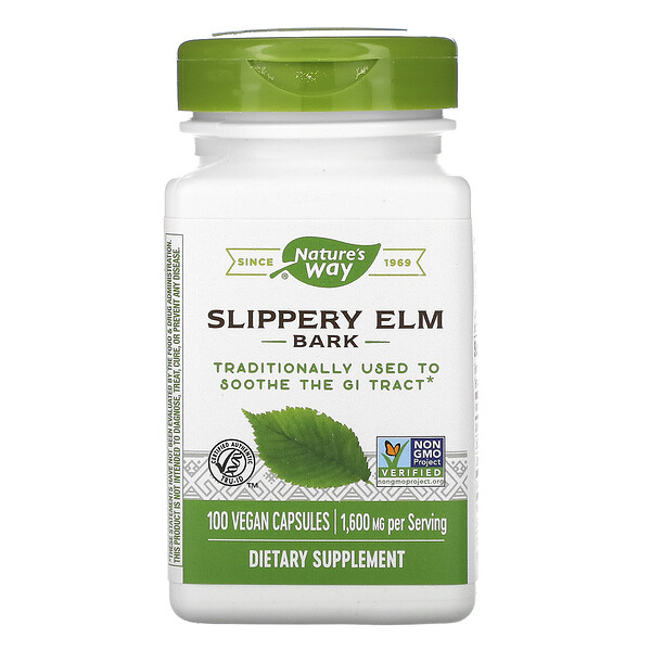 Nature's Way, Slippery Elm Bark, 1,600 mg, 100 Vegan Capsules