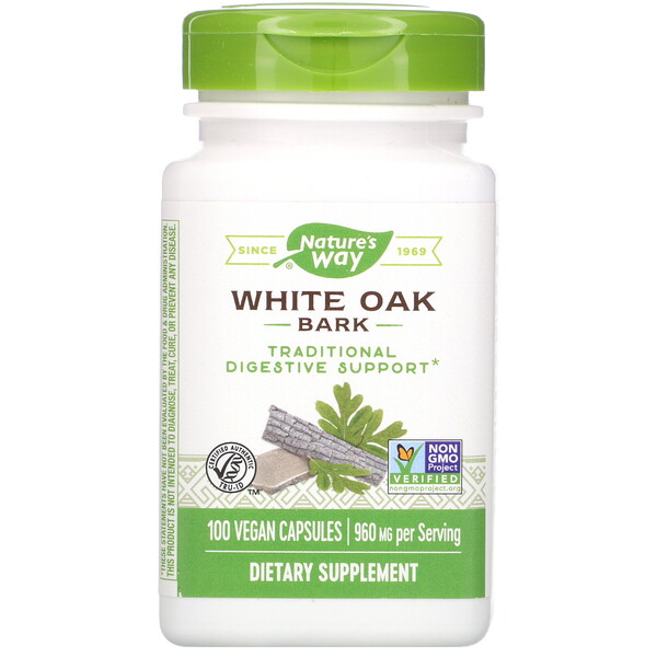Nature's Way, White Oak Bark, 960 mg, 100 Vegan Capsules