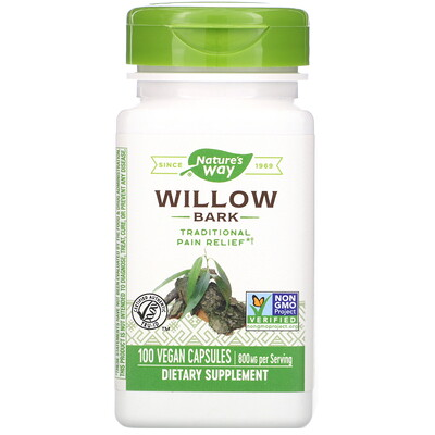 Nature's Way Willow Bark, 800 mg, 100 Vegan Capsules