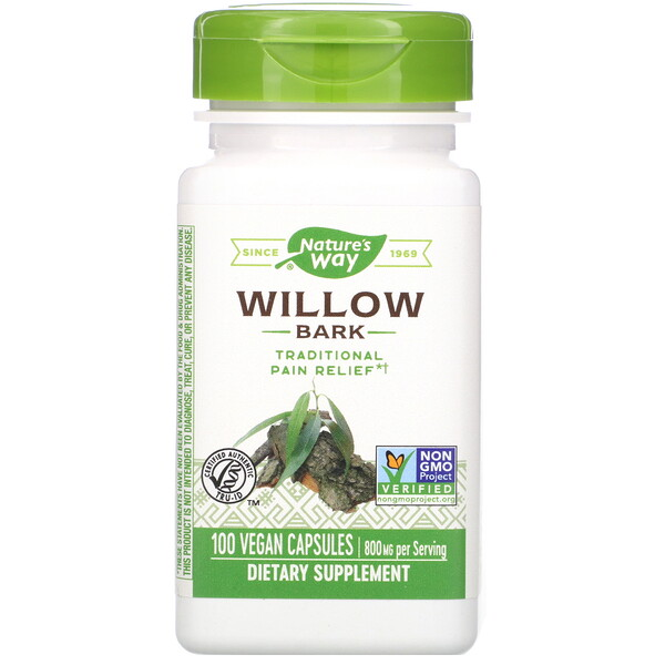 Willow Bark, 800 mg, 100 Vegan Capsules