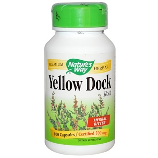 Nature's Way, Raíz Yellow Dock, 500 mg, 100 cápsulas