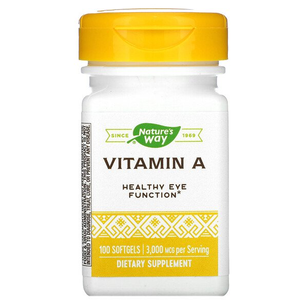 Nature's Way, Vitamin A, 3,000 mcg, 100 Softgels