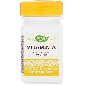 Натурес Вэй, Vitamin A, 3,000 mcg, 100 Softgels отзывы