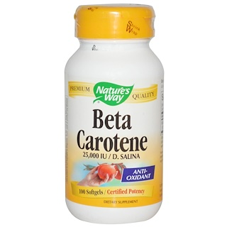 Nature's Way, Beta Carotene, 25,000 IU / D. Salina, 100 Softgels