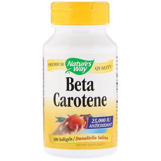 Nature's Way, Beta Carotene, 25,000 IU, 100 Softgels