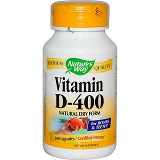 Nature's Way, Vitamin D-400, Natural Dry Form, 100 Capsules
