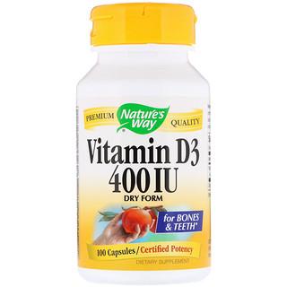 Nature's Way, Vitamin D3, Dry Form, 400 IU, 100 Capsules