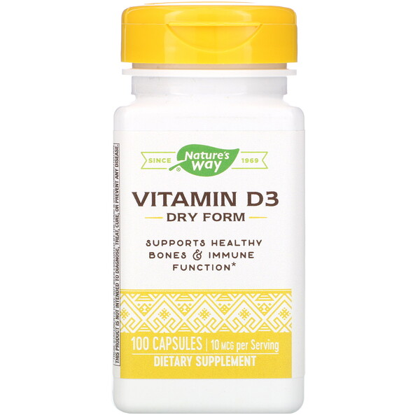 Nature's Way, Vitamin D3, Dry Form, 10 mcg, 100 Capsules