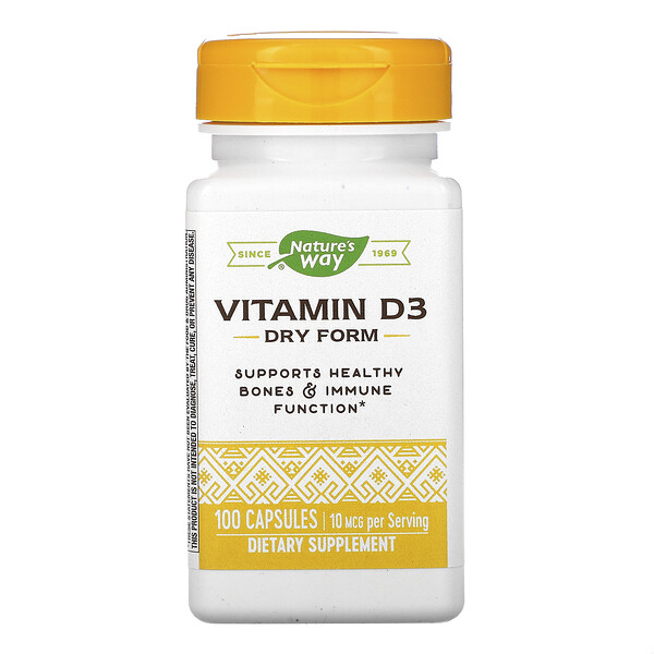 Nature's Way, Vitamin D3, Dry Form, 10 mcg, 100 Capsules (Discontinued Item)