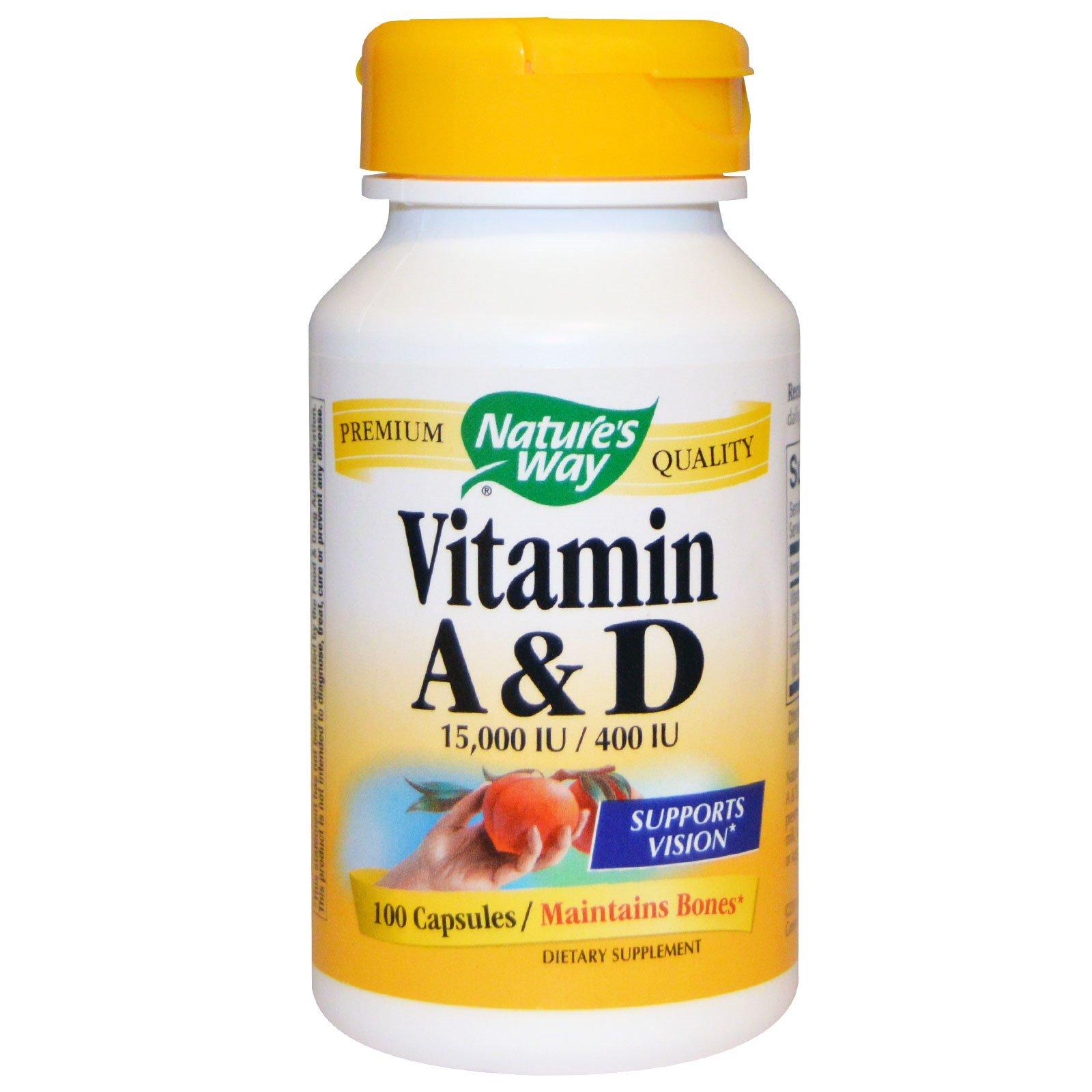 Nature's Way, Витамин А и D, 15000 МЕ / 400 МЕ, 100 капсул