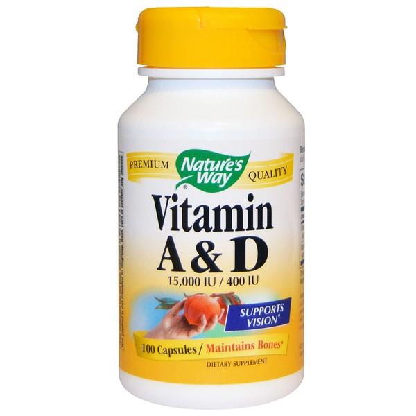 Nature's Way, Vitamin A y D, 15,000 IU / 400 IU, 100 Capsulas