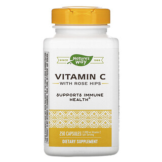 Nature's Way, Vitamin C with Rose Hips, 500 mg, 250 Capsules