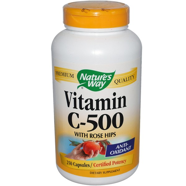 Nature's Way, Vitamin C-500 with Rose Hips, 250 Capsules